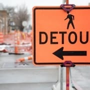 Sign indicating a detour is necessary