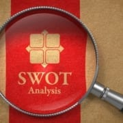 SWOT analysis under magnifying glass
