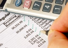 calculator and banck statement